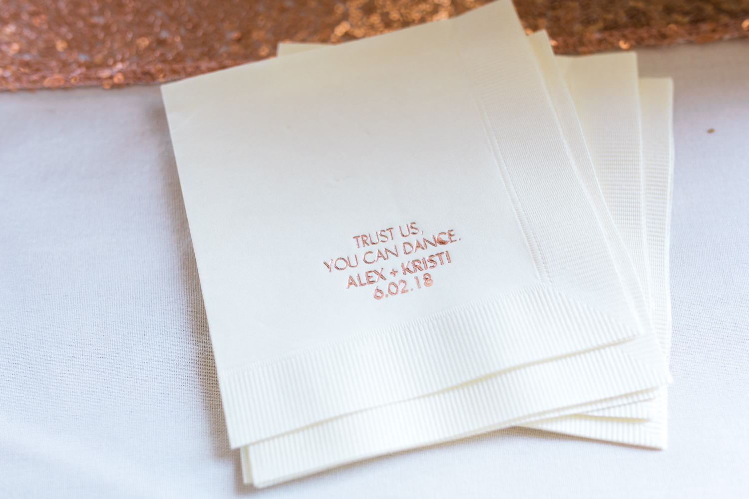 personalized napkins for a wedding