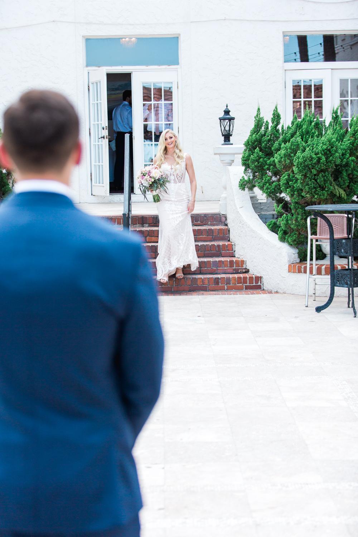 first look in casa marina wedding