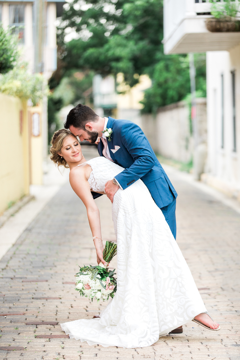 Stunning newlyweds on the streets of St.Augustine, FL