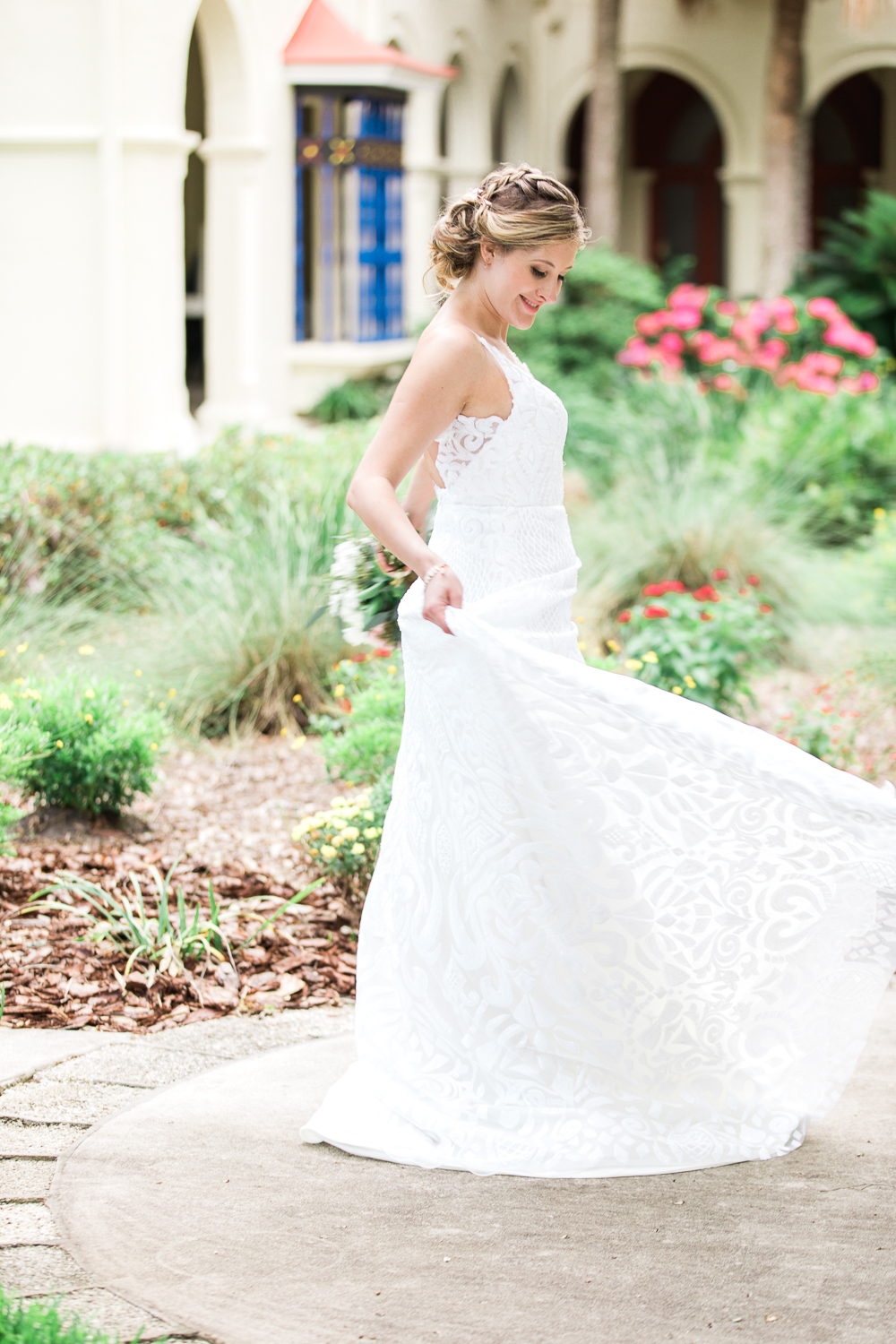 Bride twirling around in the streets of St.Augustine