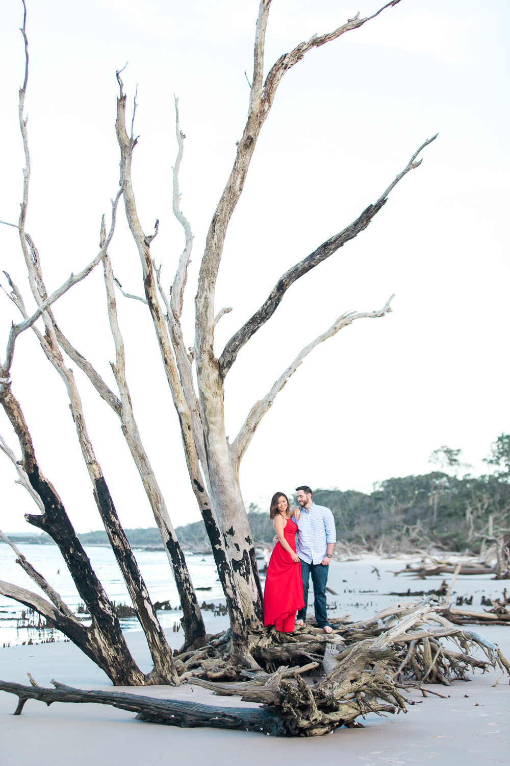 Big Talbot Island driftwood beach romantic engagement session