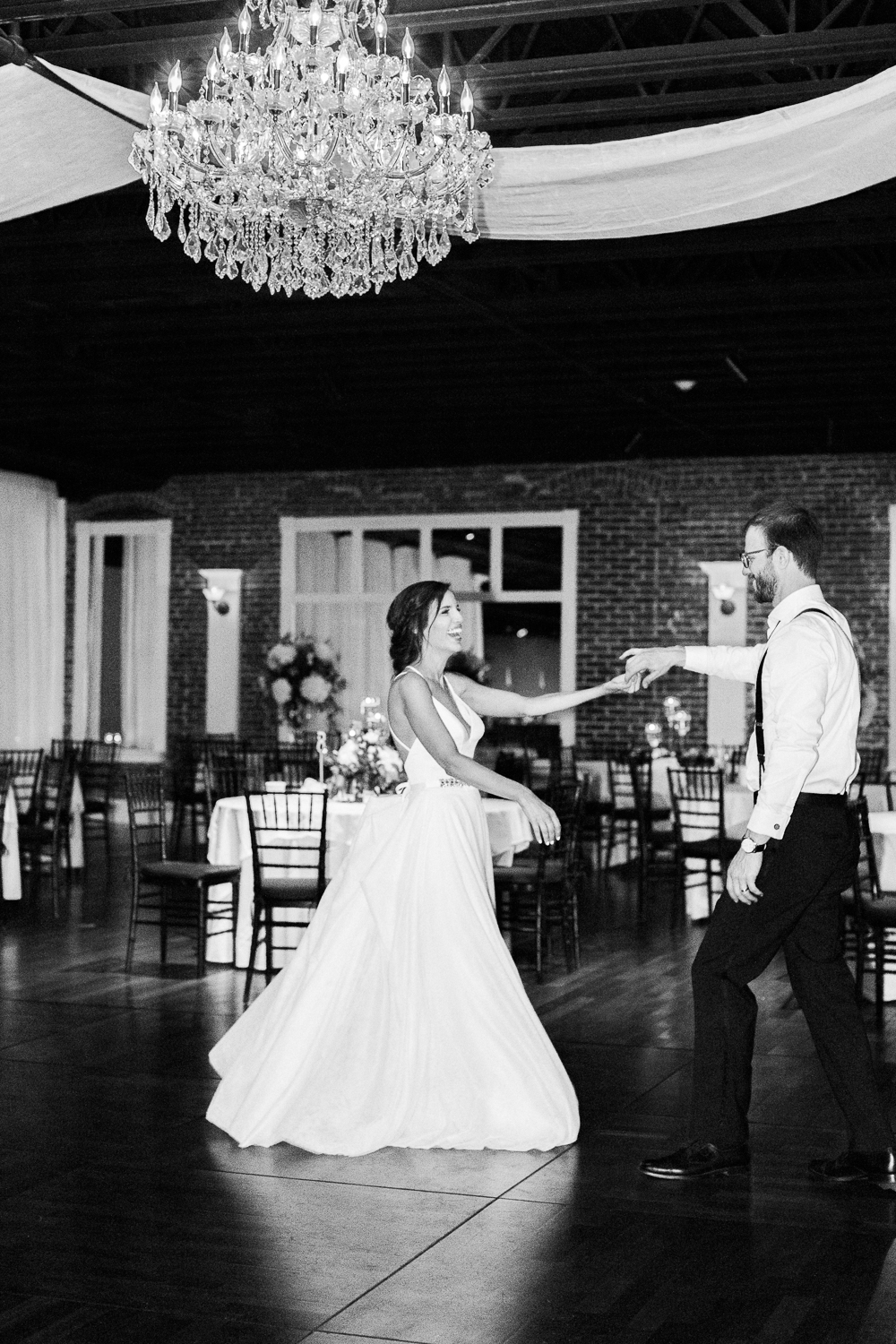 b&w first dance picture ideas in the white room wedding in st.augustine fl