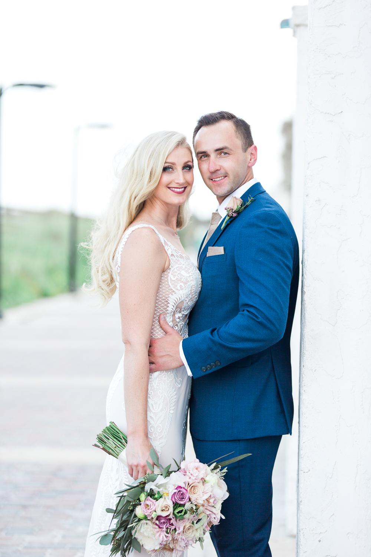 jacksonville beach casa marina hotel wedding with bride and groom