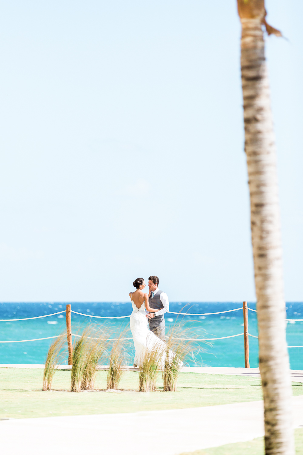 destination wedding in cancun, mexico with bride and groom romantic photos at the beach