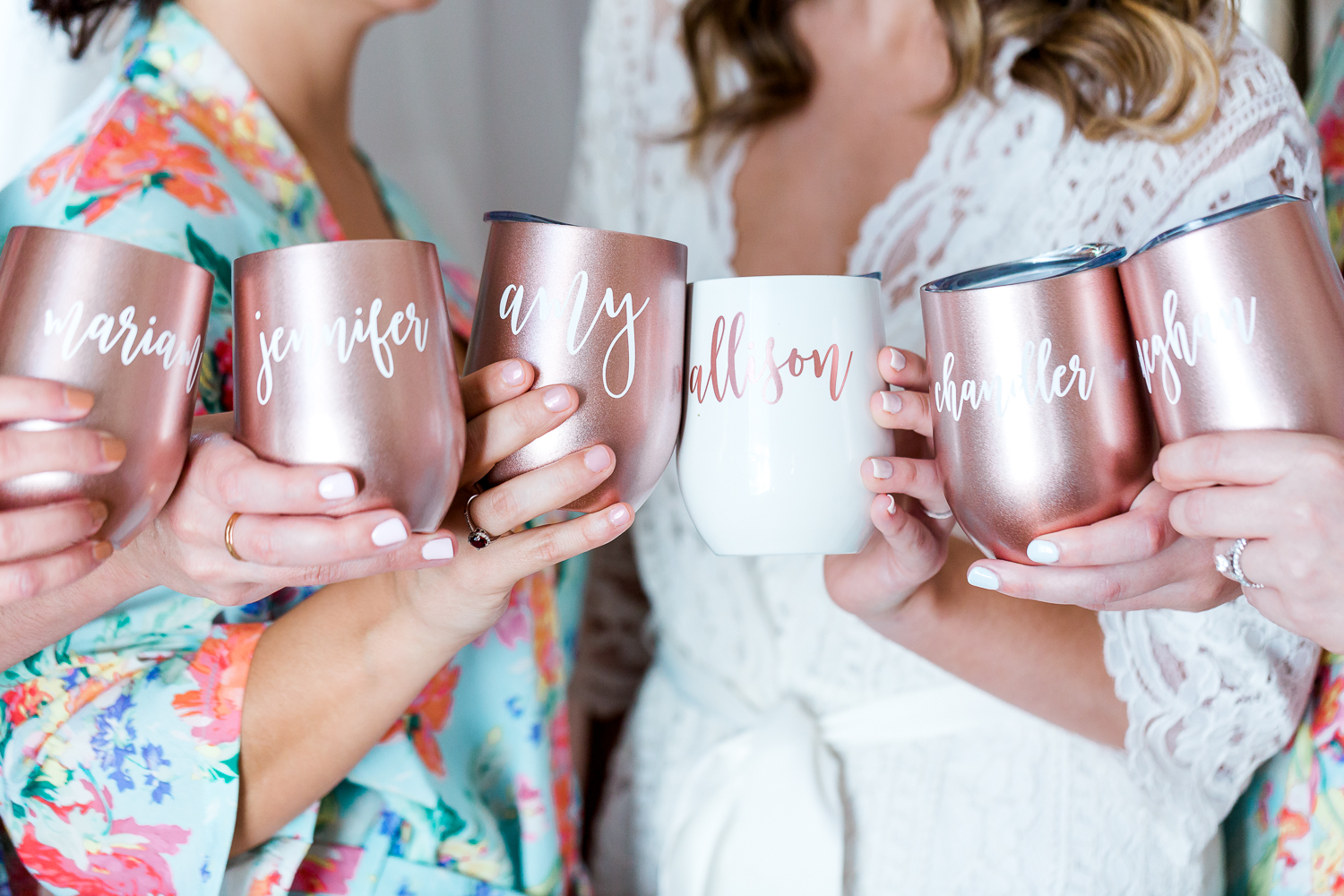 bridal party getting ready picture ideas in the white room wedding in st.augustine fl