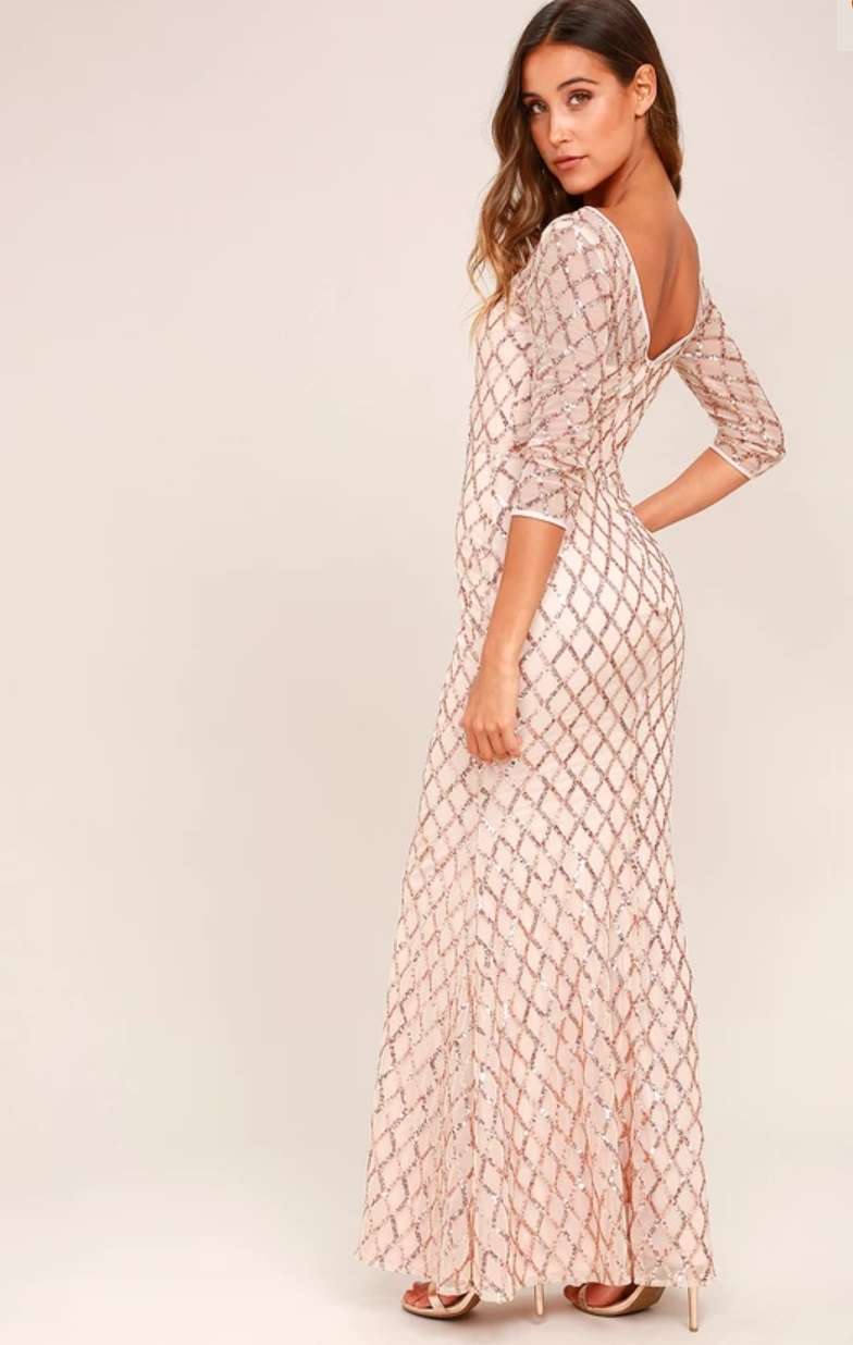 Glitter rose gold sequin maxi dress - size S  $20
