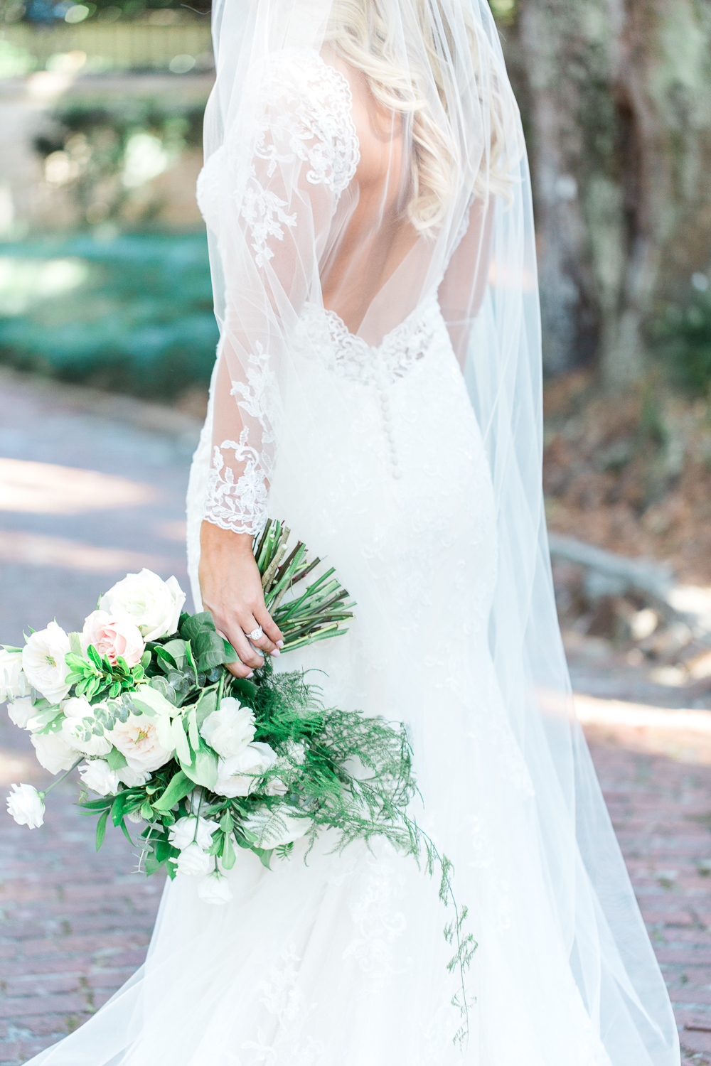 feather+bloom flowers and maggie sottero dress