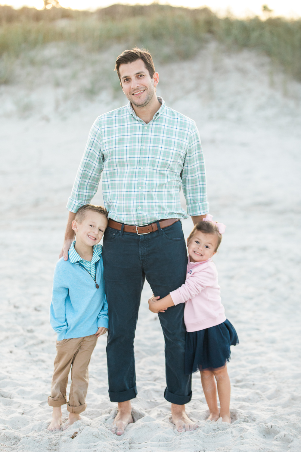 daddy and kids at the beach in Hanna Park