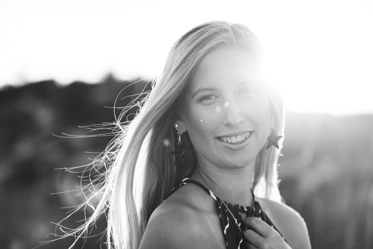 B&W photos during sunset in hanna park