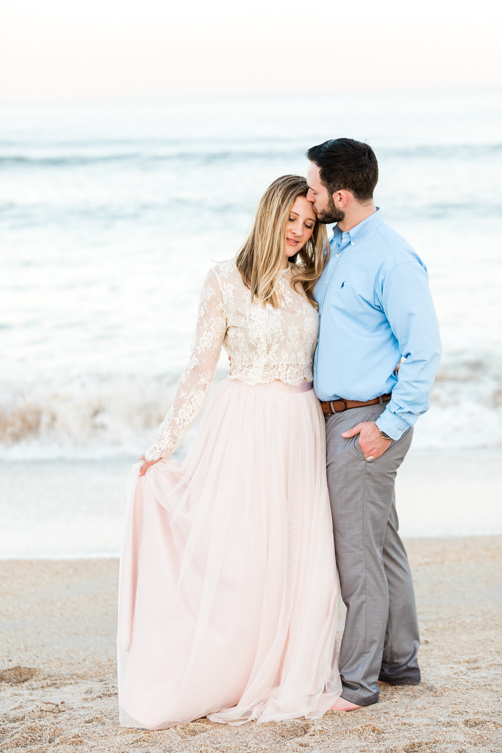 Guana Beach sunset engagement session with a beautiful  couple