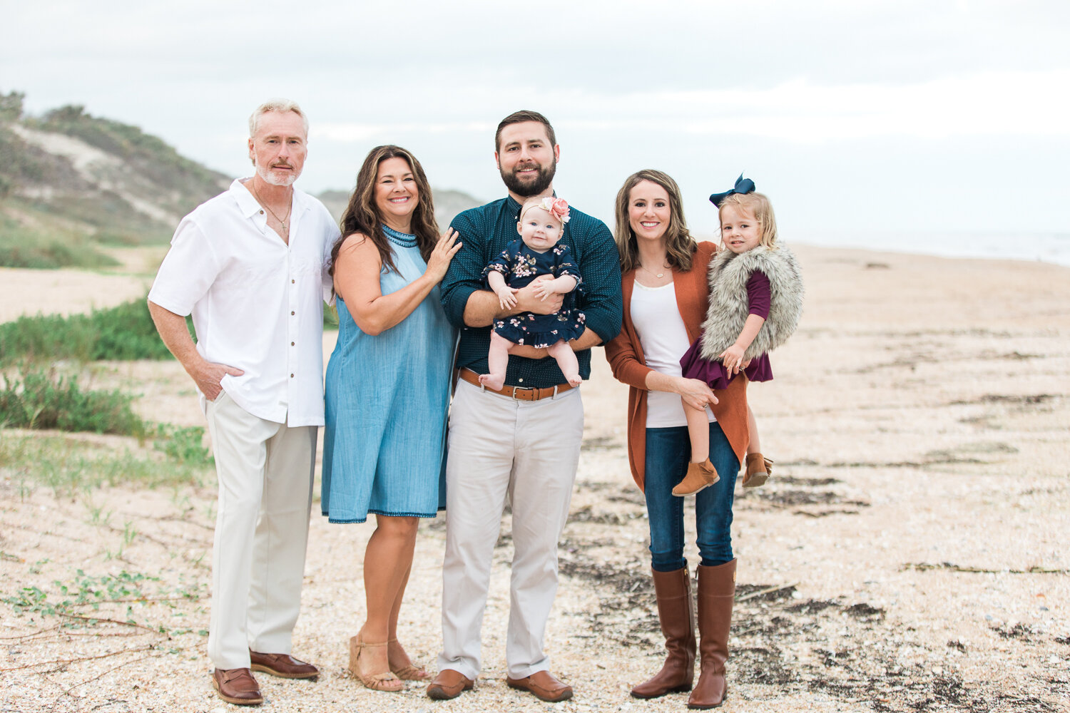extended family photoshoot at the beach in guana preserve