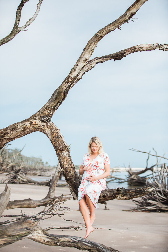 mommy-to-be sitting on the driftwood in Big Talbot Island during sunrise session