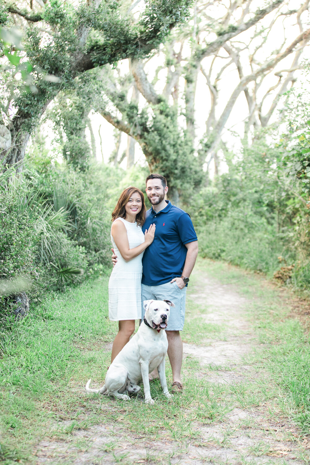 engagement session with a dog in Big Talbot Island