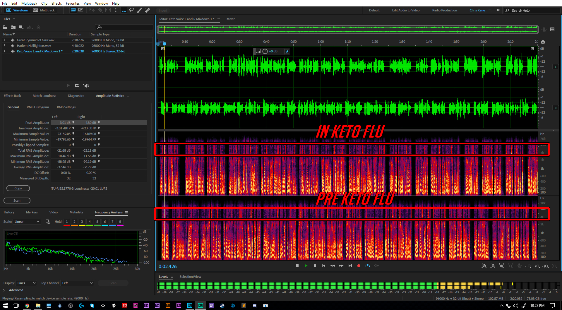 "The image represents only clean, unprocessed audio recorded directly to my audio workstation which was  Adobe Audition CC 2017 .  The green ""waveform"" is a simple amplitude measurement of the sounds I made during recording. The red, yellow and purple display on the bottom of the editor show both amplitude and frequency. The vertical axis show's a frequency range of 20hz to just over 20khz. (Think of it this way; the ""brighter"" the ""color"" (like yellow) the louder the sound."
