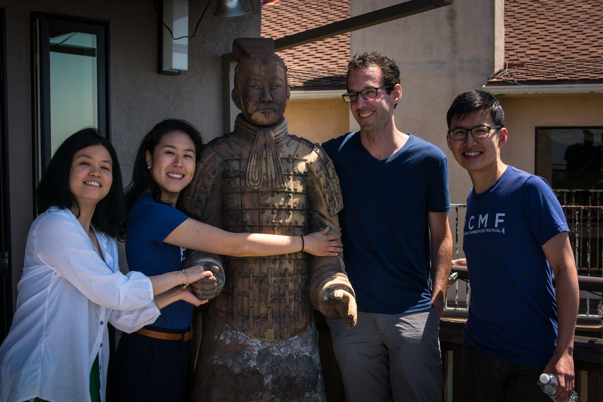 Bonding with a terracotta warrior at the home of a PCMF supporter.