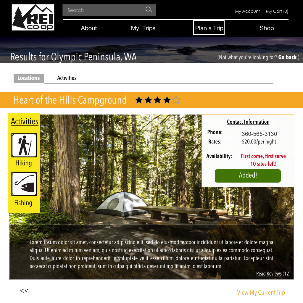 Browsing campsites