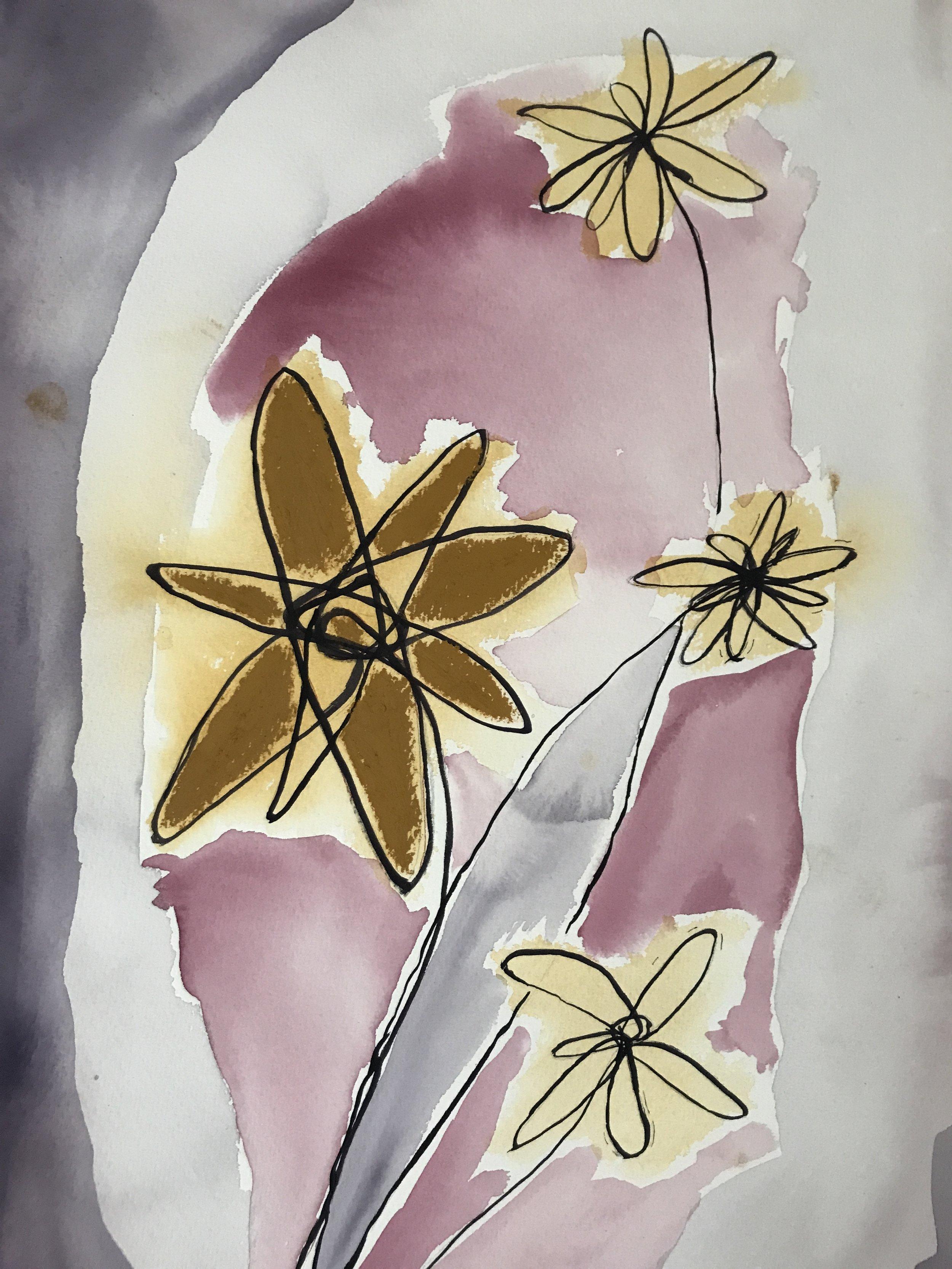 'Flowers from Granny (sick, sad)' - 700mm x 520mm