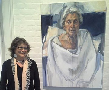 Ann with portrait of her mother, at Portia Geach, 2014