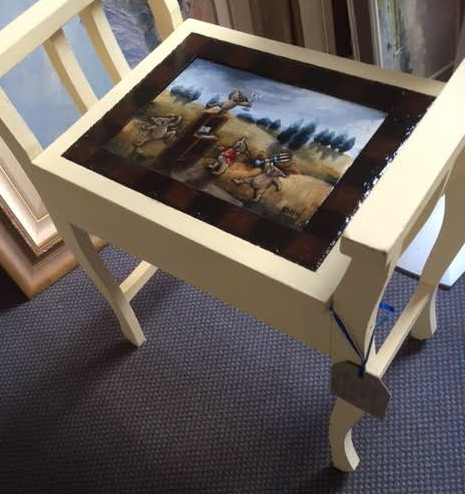 """Dance Like No-one's Watching"", vintage piano stool by Karen Atkins FRAS $200"