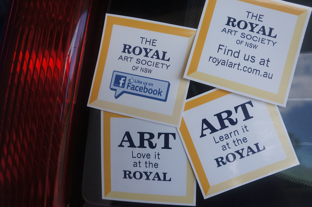 Stickers!  Support your art society with a gold coin donation for a sticker for your art box, easel or car.