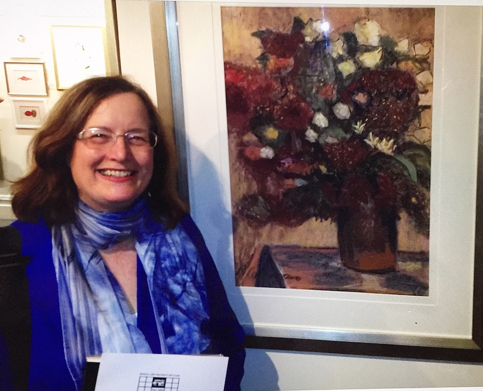 "Dr Robyn Coleman with her award winning painting ""Chinese Smoking Bush"""