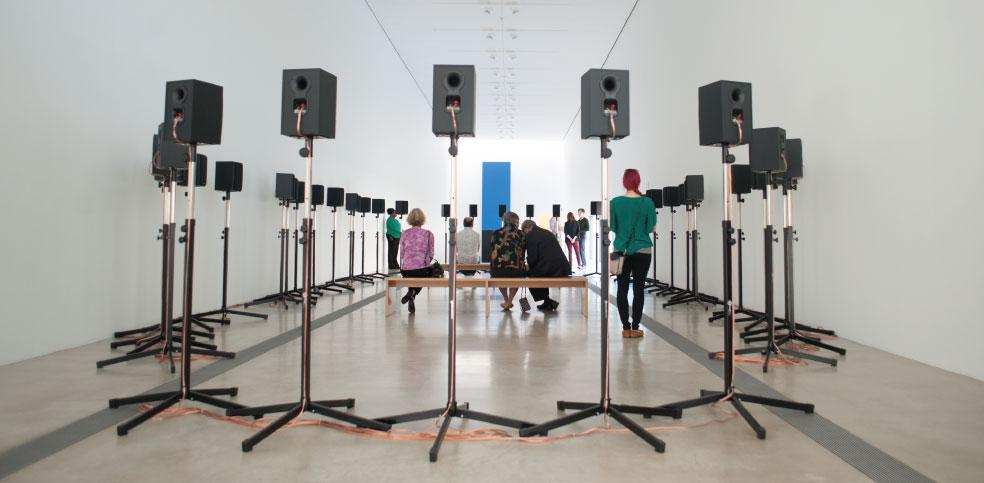"Janet Cardiff  The Forty Part Motet (A reworking of ""Spem in Alium,"" by Thomas Tallis, 1556) , 2001. Currently on view at  Pulitzer Arts , St. Louis.  40 track sound recording, 40 speakers. 14 min. © Janet Cardiff. Photo by Carly Ann Faye"
