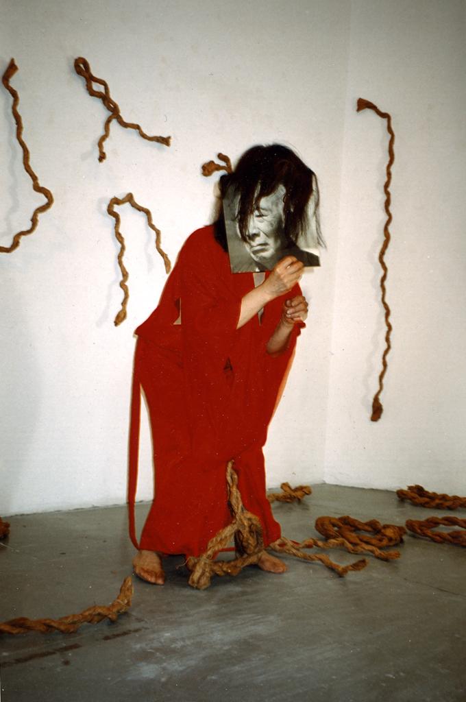 Kazuko Miyamoto:  Dance for my father , Gallery onetwentyeight, New York. exact date unknown. Photo by: Kazuko G. Stone.