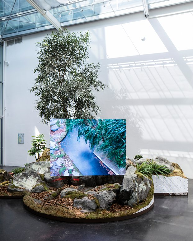 """Timur Si-Qin's  A Reflected Landscape  (2016) in the Berlin Biennale """"The Present in Drag."""""""