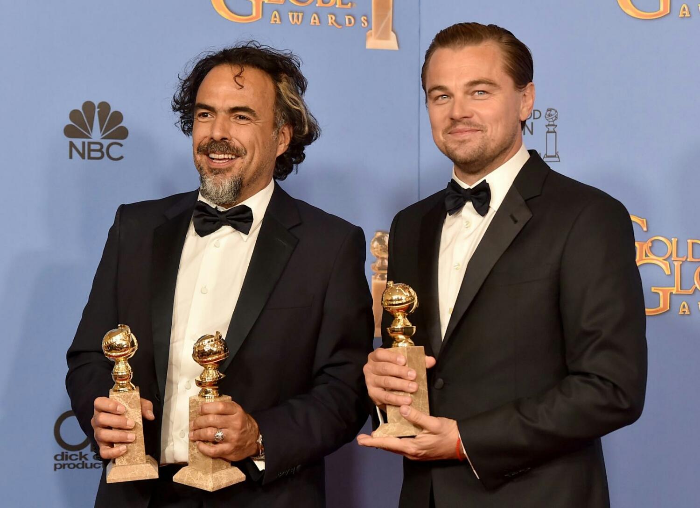 Alejandro González Iñarritú y Leonardo DiCaprio en los Golden Globes
