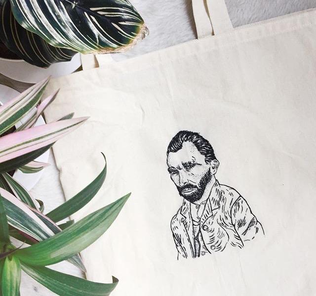 Tote Bag con bordado de Vincent Van Gogh por Fernanda Rodz