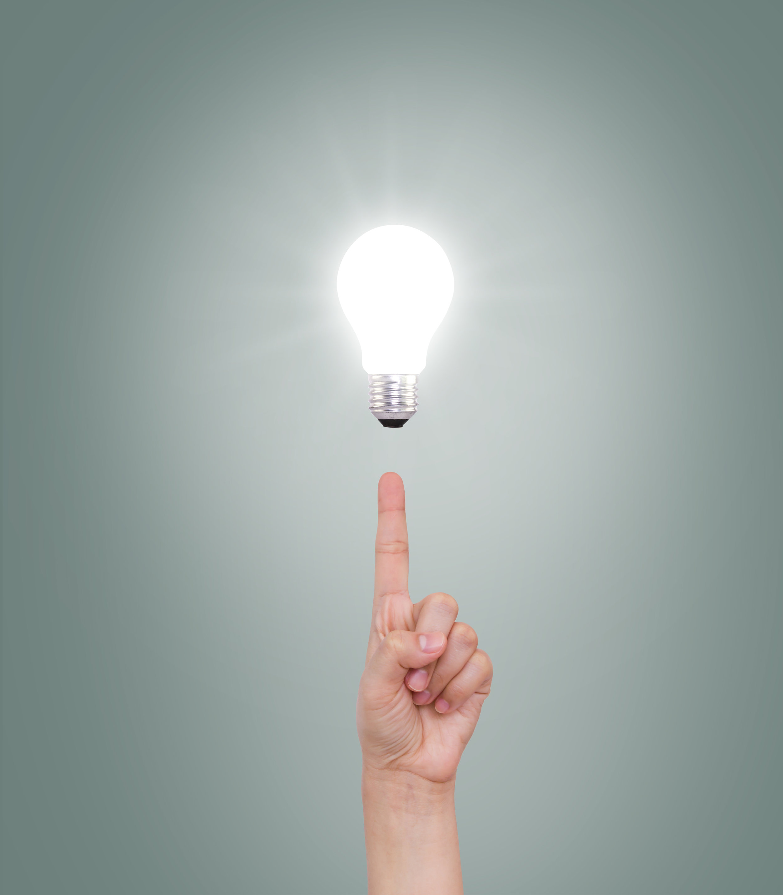 Hand point to Light bulb