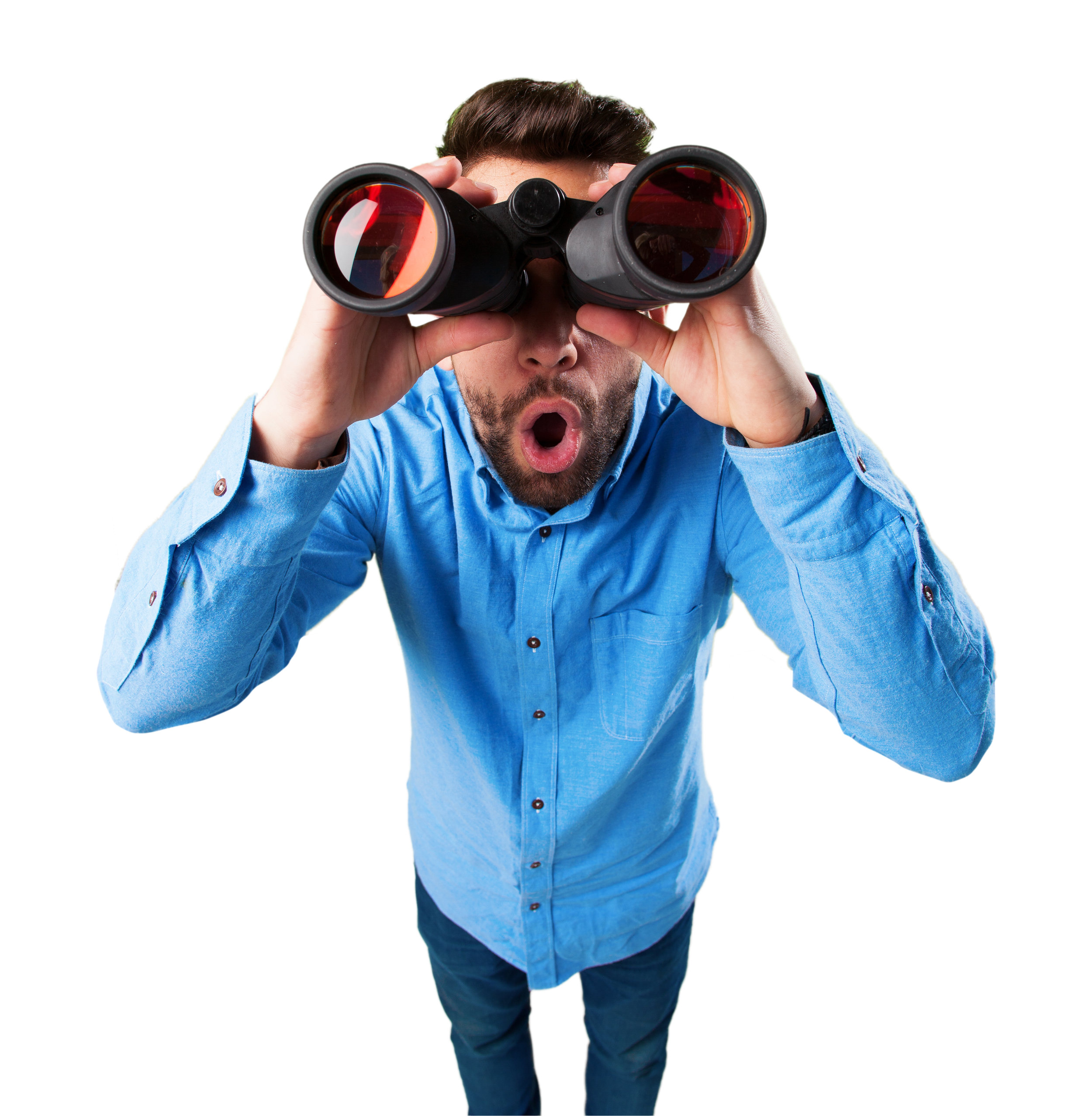 young man with binoculars surprised