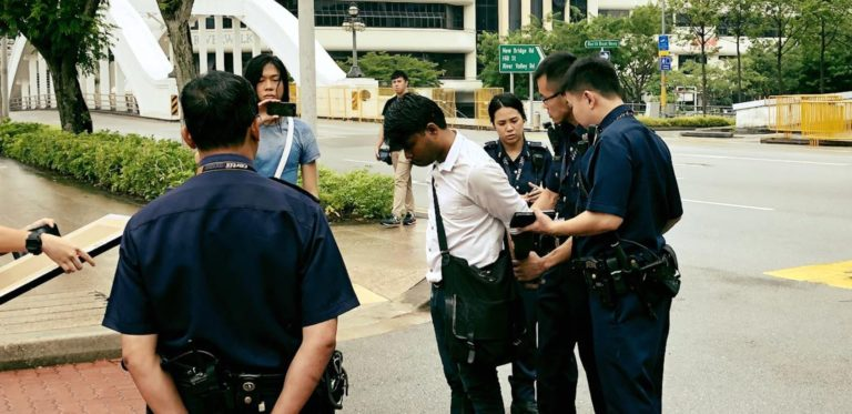 Seelan Palay arrested outside Singapore's Parliament on October 1, 2017 (Credit:  The Online Citizen )