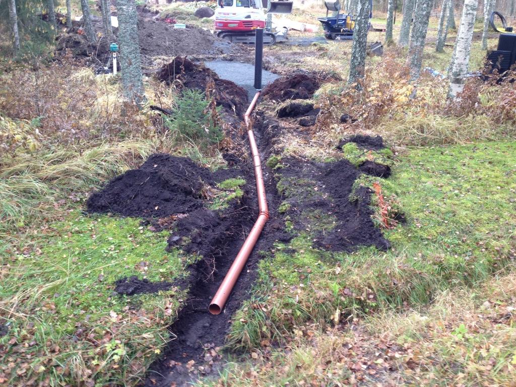 Provtagningsbrunn 200mm på utloppsledning. Utlopp till recipient/dike via dolt utsläpp (singelöga).