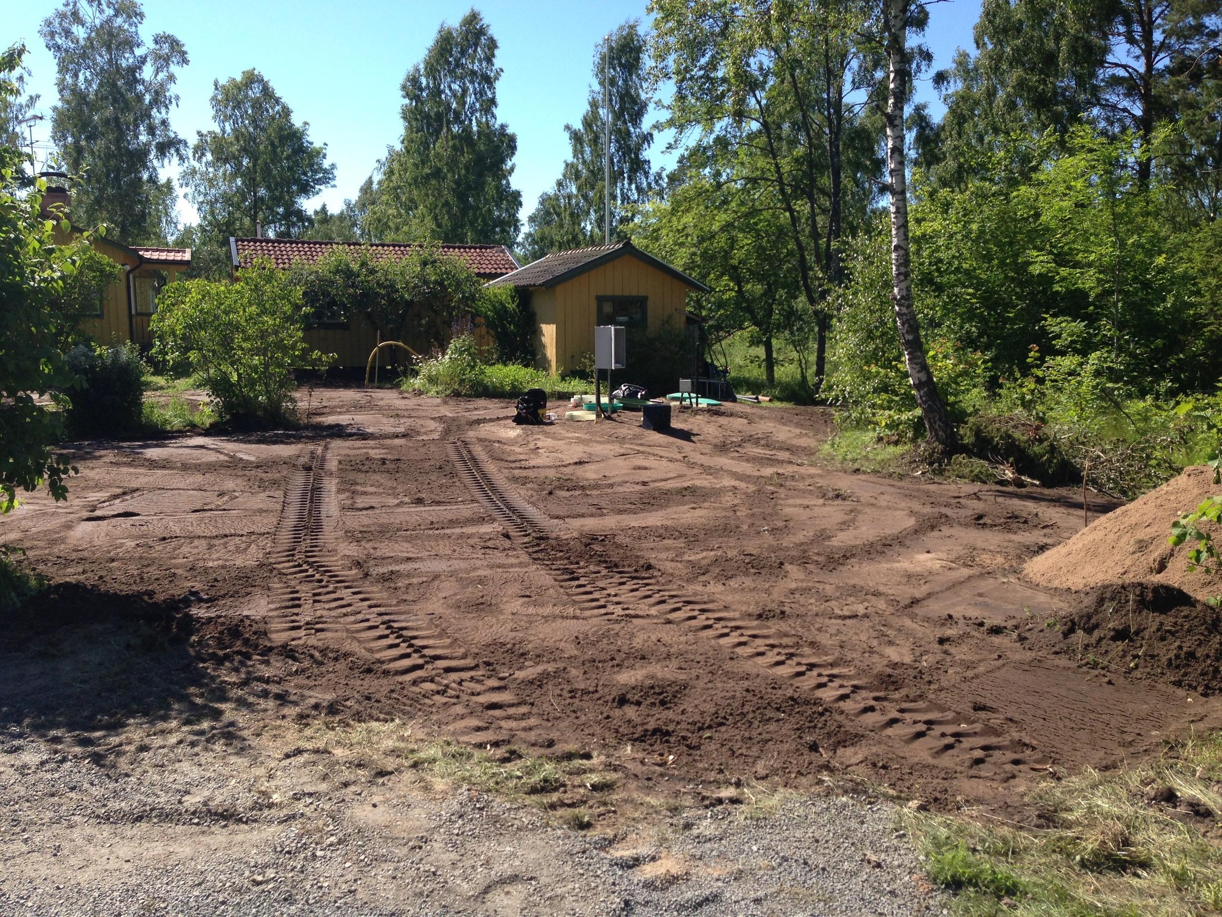 Återställning med jord.