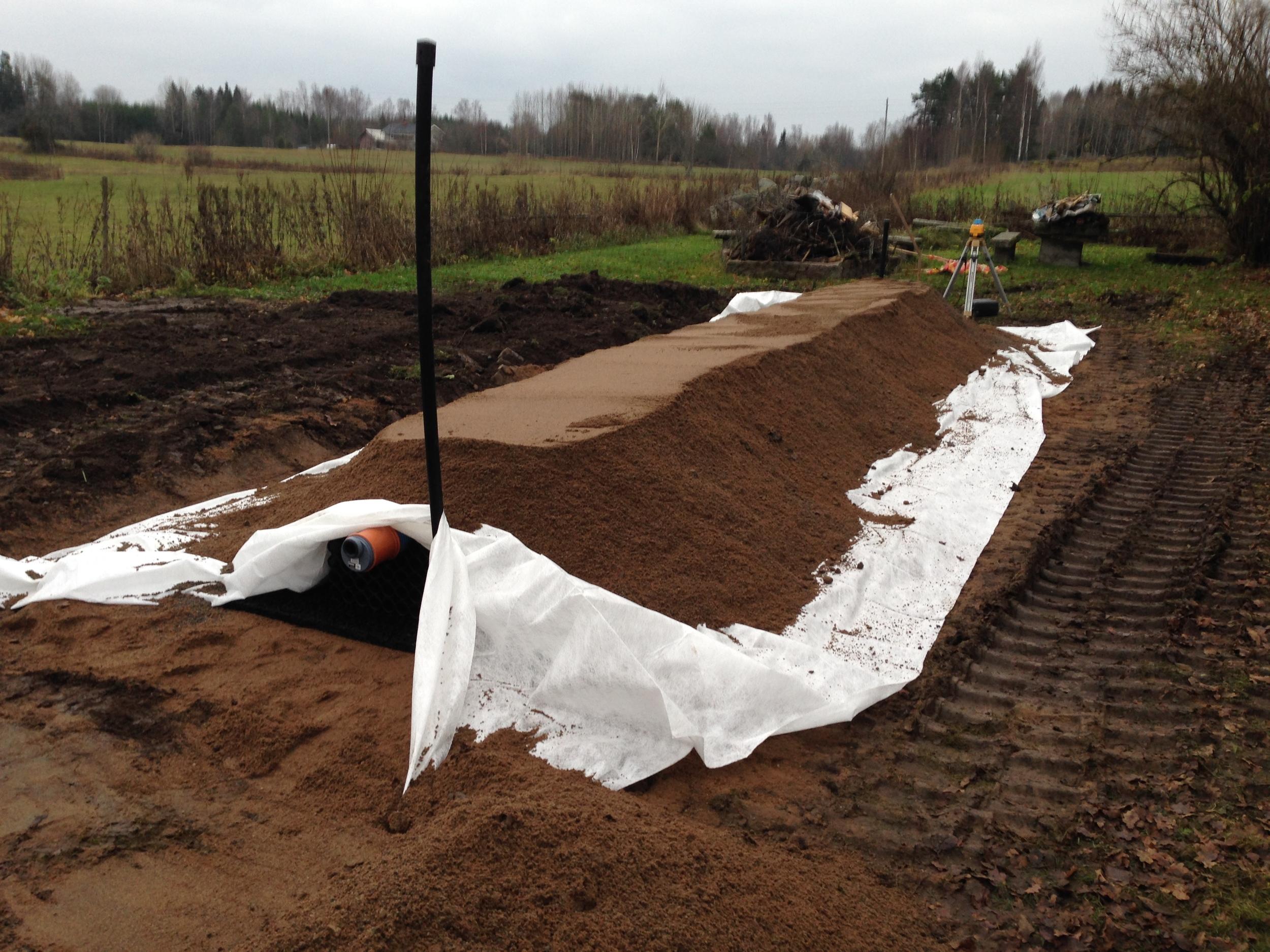 Täckning med fiberduk.  Återfyllning med Betonggrus 0-8 samt befintligt material, ca: 50cm överfyll.