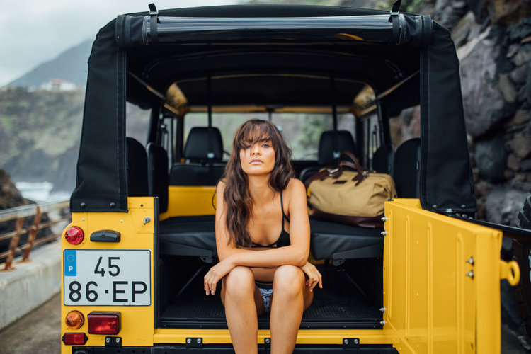 a Girl in Land Rover Defender D90