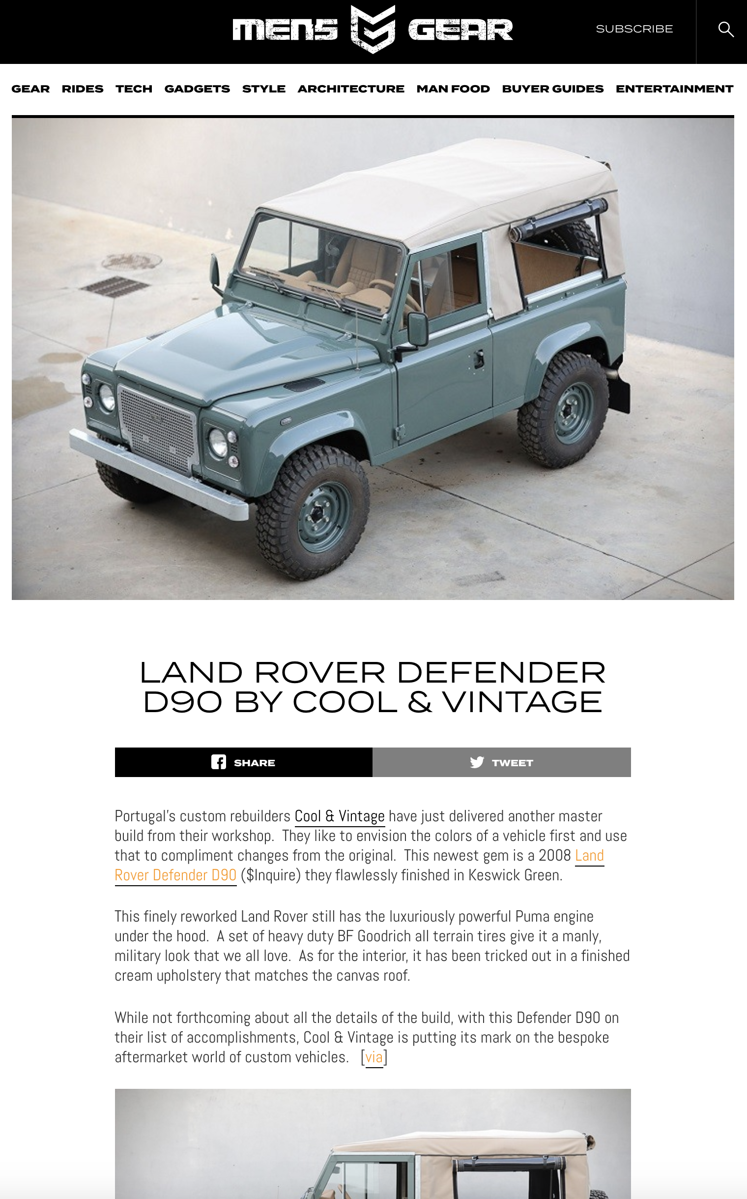 Mens Gear Land Rover 109 Cool Vintage