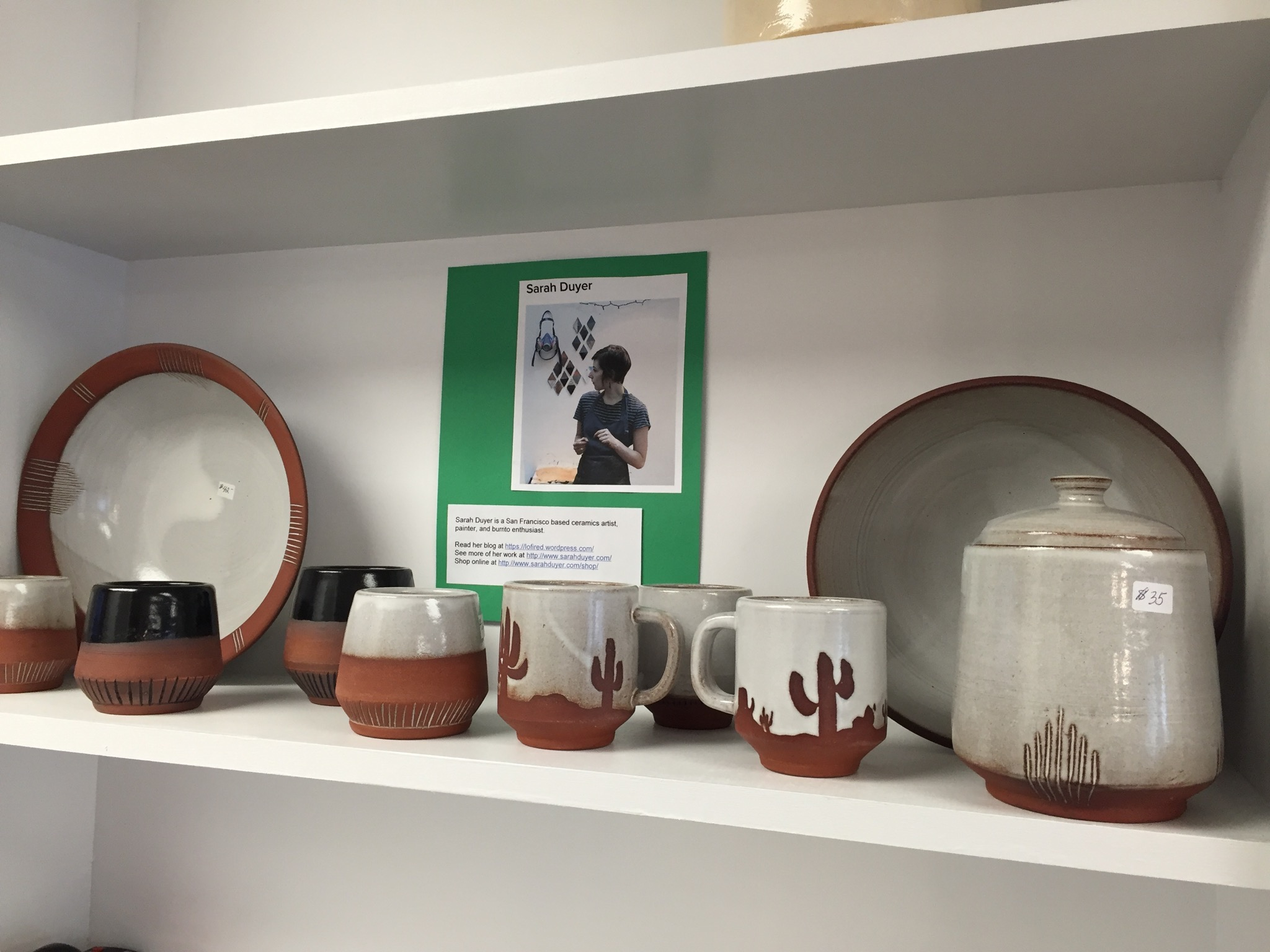 Pottery by ceramic artist Sarah Duyer, for sale at Creative Corner.