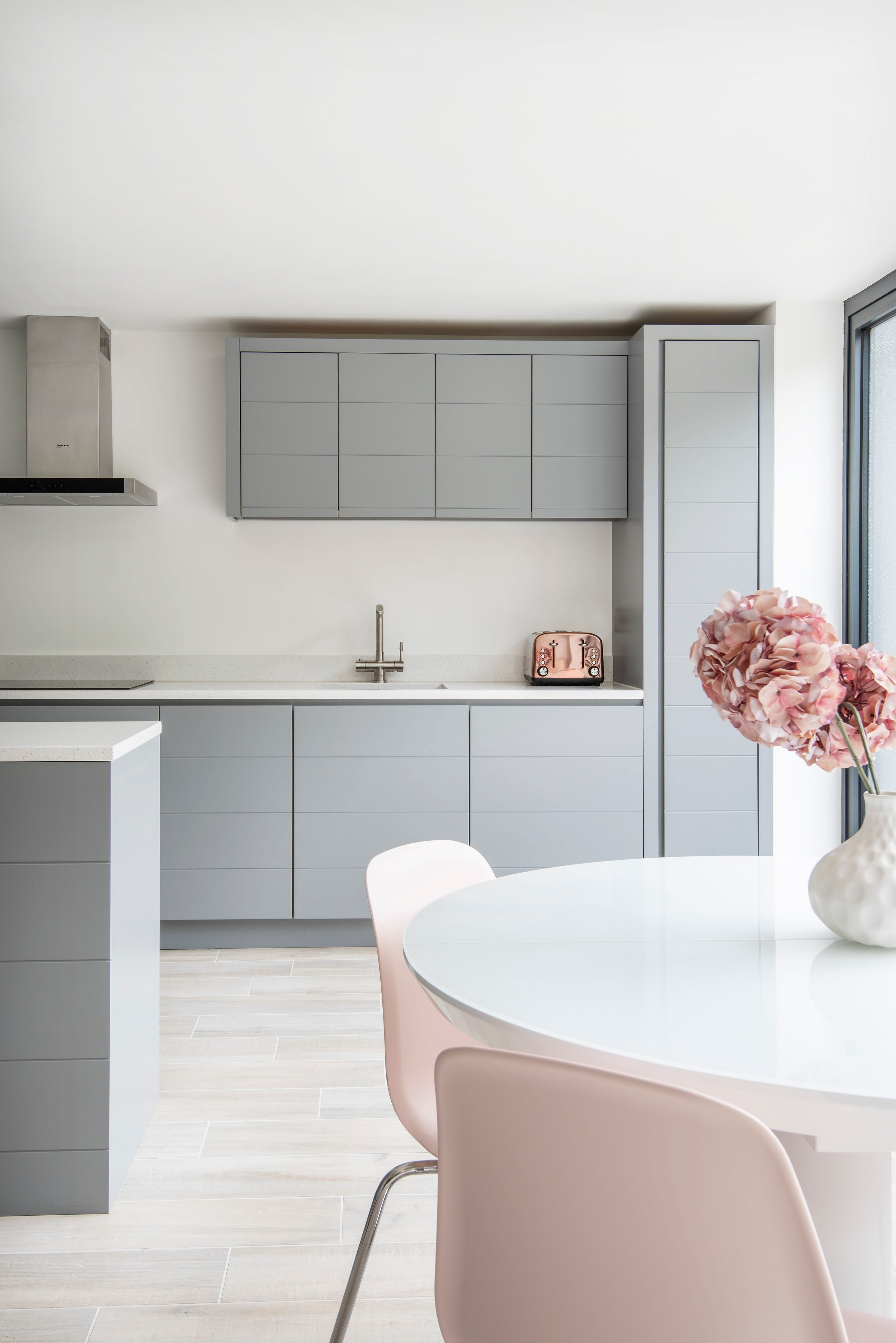 Contemporary Grey & Pink Kitchen