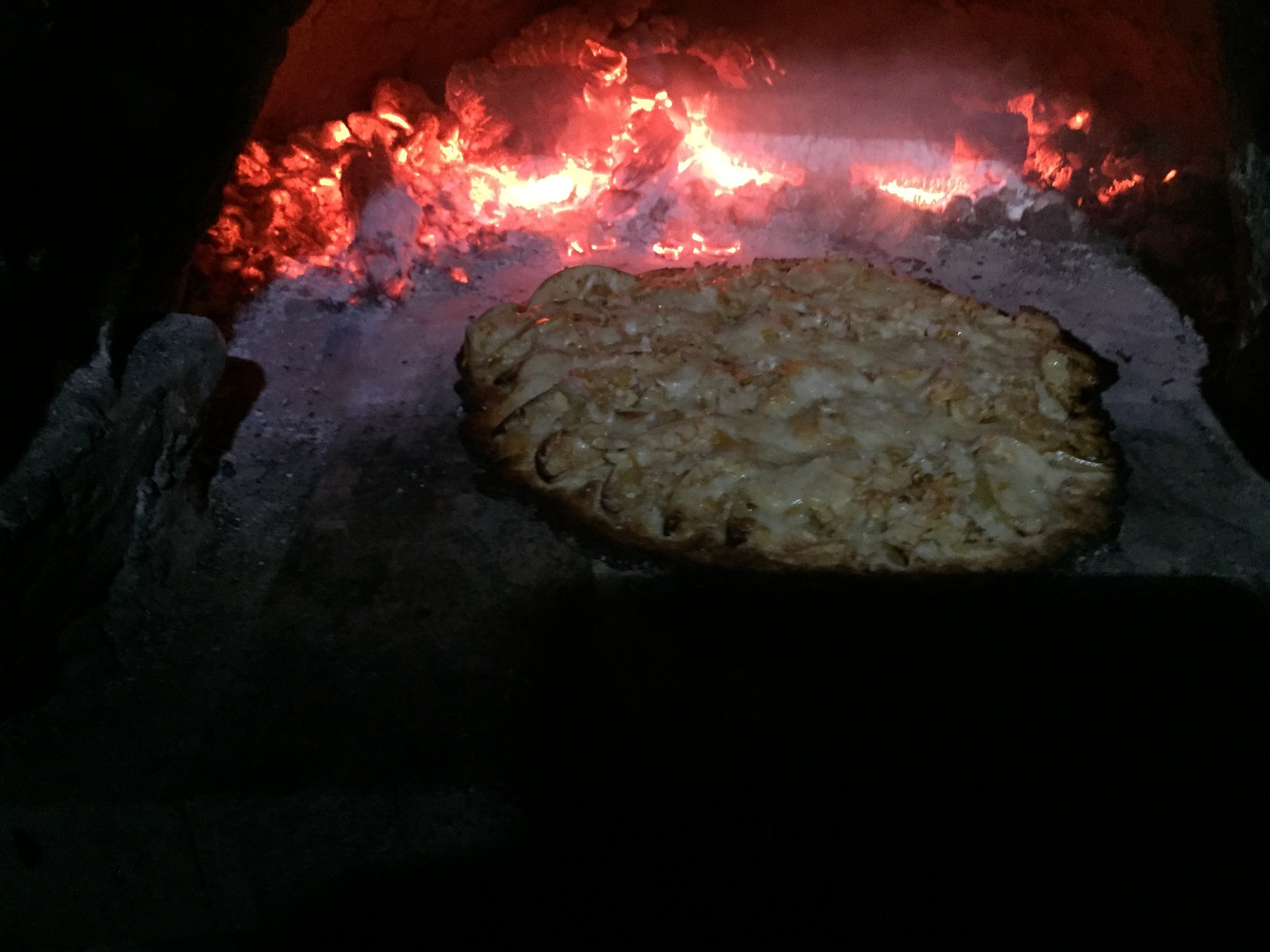 The pizza meets the outdoor pizza oven!