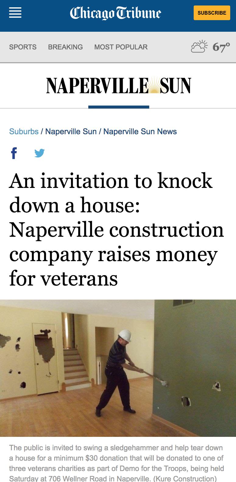 Naperville Sun Kure Construction Feature