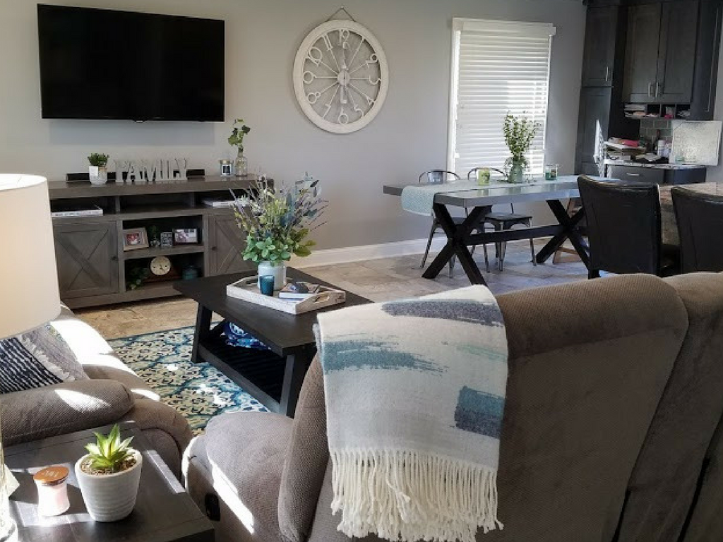Naperville Interior Design - Interior Division was tasked with the job of lightening up the grey decor of this house while sticking to a budget. Our lead designer, Lori Kure, was up to the challenge!