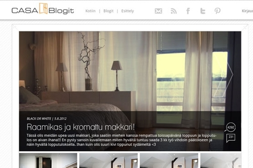 Casablogit.fi   An online media and publishing platform that combines around twenty Finnish interior design, lifestyle and decoration blogs into one portal.