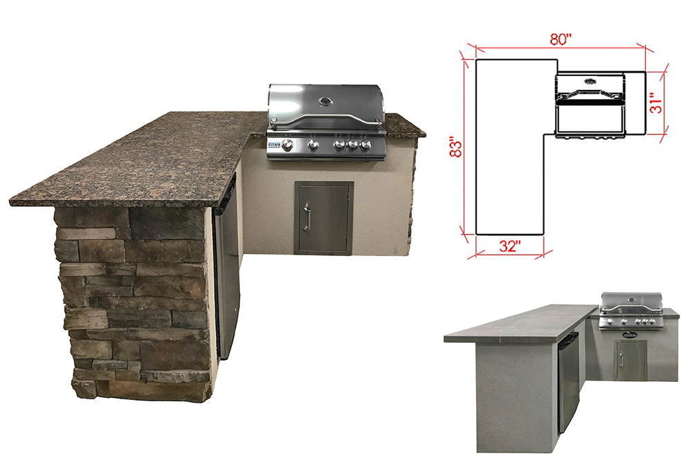 "The DS3 - With an 83"" dining ledge, the DS3 outdoor kitchen island can replace a dining set and offer guests a perch to interact with the cook. This also works well for planning a multi-zone outdoor environment."