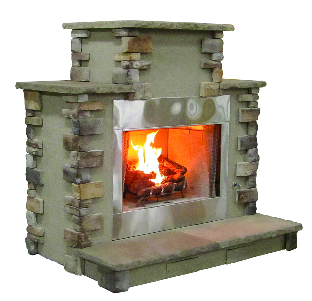 The DFPG - Our coziest wood burning outdoor fireplace. Solidly-built using a FireRock™ masonry core, high temperature fire brick lining and cultured stone veneer. Gas log starters or gas log sets can be added as an upgrade