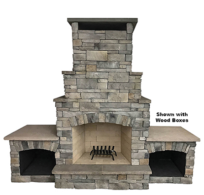 "The DFP2 - A mid-size wood burning outdoor fireplace with a 36"" fire box and an attractive stepped chimney detail. Solidly-built using a FireRock™ masonry core, high temperature fire brick lining and cultured stone veneer. Gas log starters or gas log sets can be added as an upgrade"