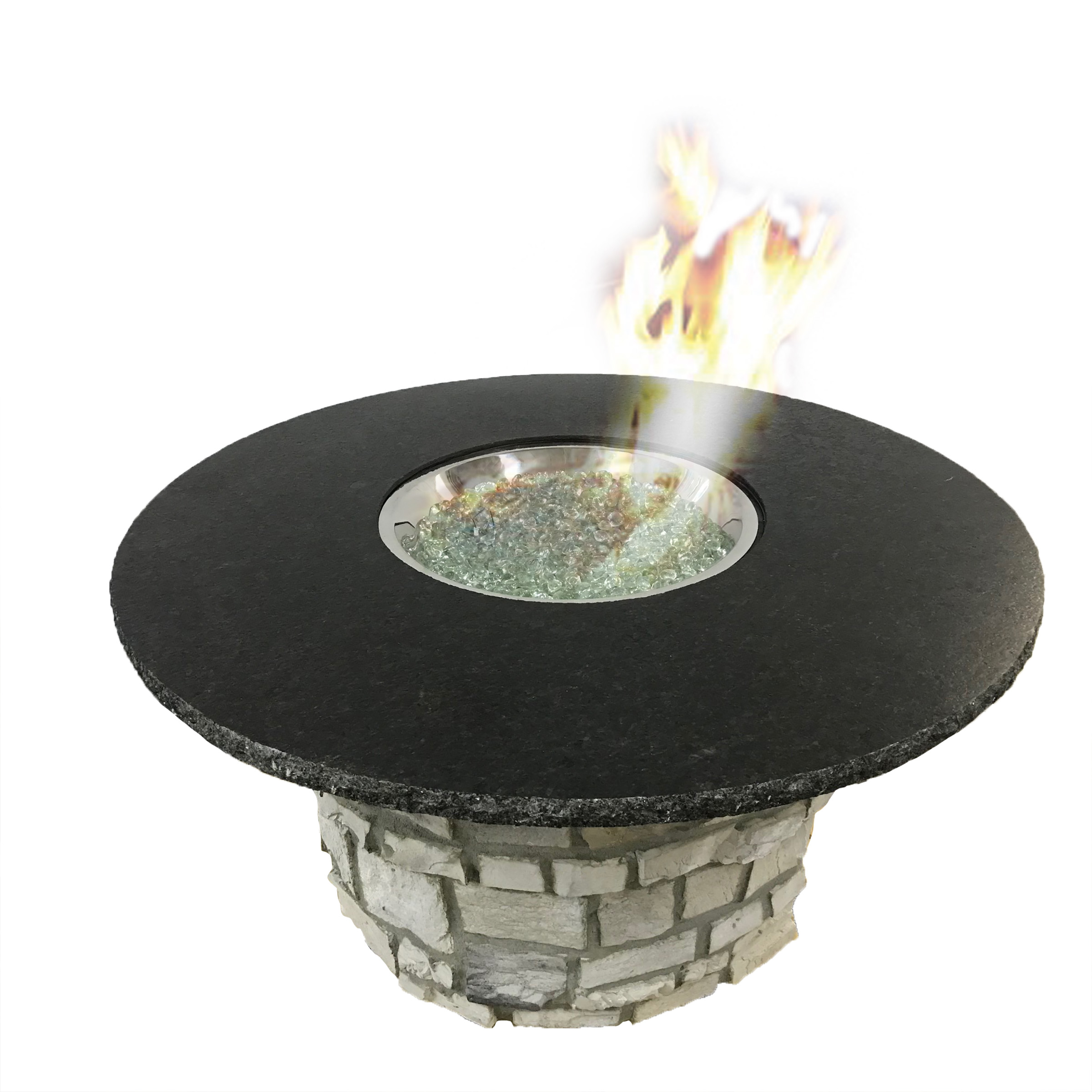 Fire Table - Gas fueled fire pits make a great centerpiece for conversations around a fire. Easy to set up and use. Fueled from LP tank or Natural Gas line. ThePowerful 60,000 BTU round fire pit is made from commercial quality stainless-steel and is controlled by a key valve with spark ignition.