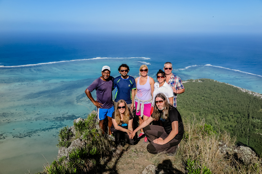spectacular view on the sea when reaching the top of Le Morne Mountain Mauritius