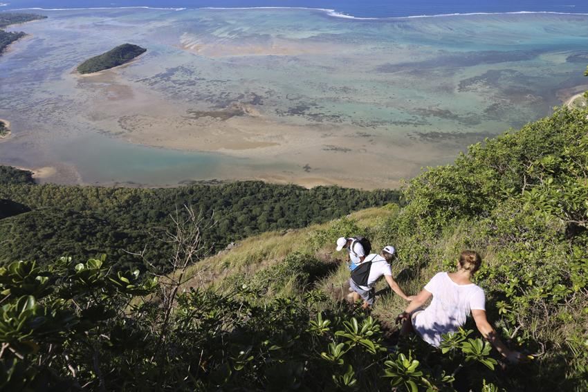 pristine lagoon while hiking on Le Morne Mountain Mauritius